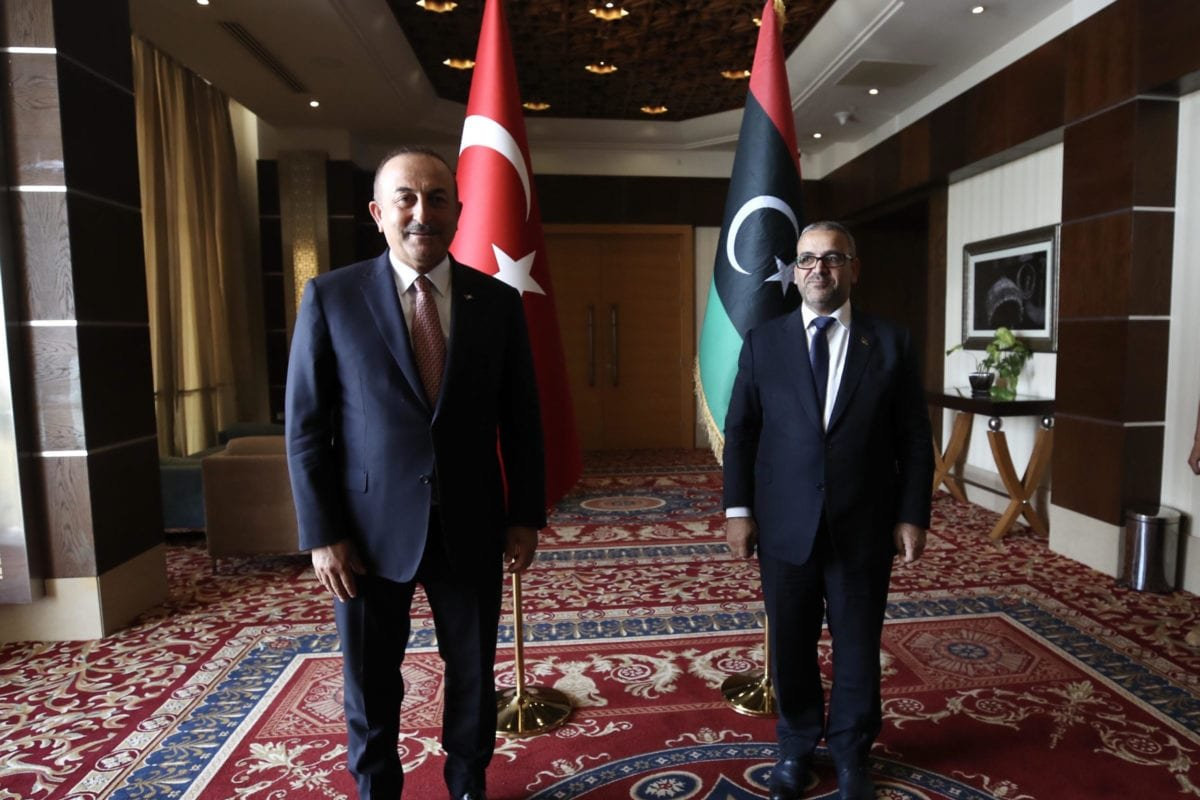 Turkish Foreign Minister Mevlut Cavusoglu meets with President of the Libyan Supreme Council of State Khalid Al-Mishri (R) during his official visit, on 17 June 2020 in Tripoli, Libya. [Fatih Aktaş - Anadolu Agency]