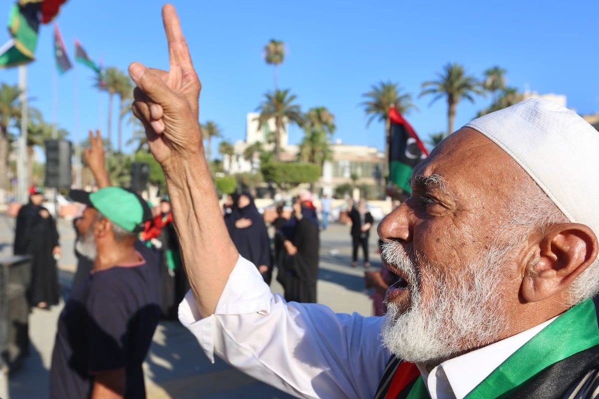 People protest against President of Egypt Abdel-Fattah Al-Sisi following his intervention threat at Martyrs Square in Tripoli, Libya on 21 June 2020. [Hazem Turkia - Anadolu Agency]