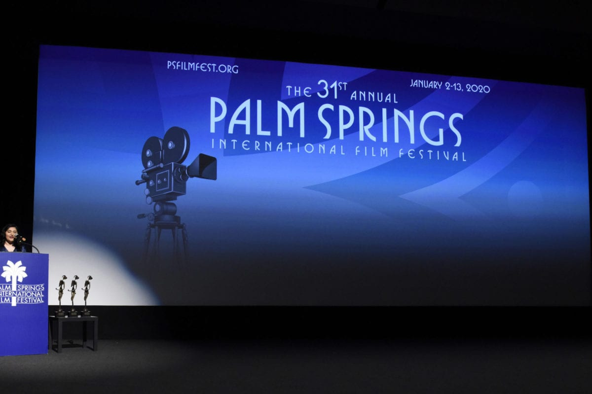 """Artistic director of the Palm Springs International Film Festival Liliana Rodriguez speaks at the Closing Night Screening of """"Military Wives"""" at the 31st Annual Palm Springs International Film Festival on January 12, 2020 in Palm Springs, California. [Vivien Killilea/Getty Images for Palm Springs International Film Festival]"""