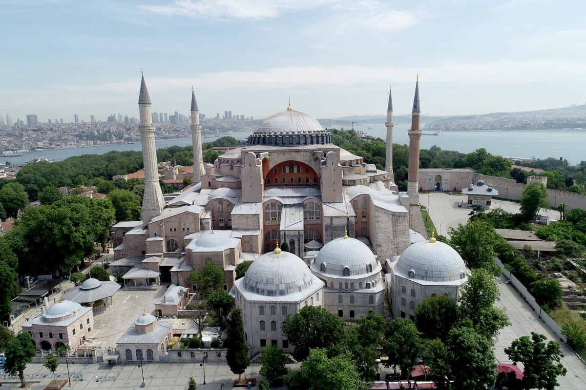 A drone photo shows an aerial view of Hagia Sophia, in Istanbul, Turkey on 6 June 2020 [Lokman Akkaya/Anadolu Agency]