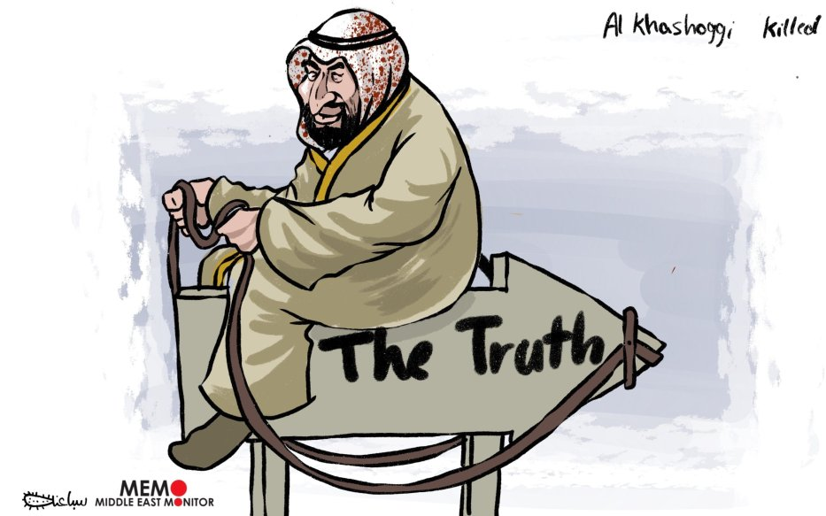 MBS and truth about Khashoggi - Cartoon [Sabaaneh/MiddleEastMonitor]