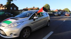 Pro-Palestine activists commemorate the Naksa with a car parade on June 5 2020 in London, UK [Palestinian Forum in Britain]