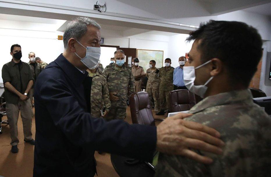 Turkish Defense Minister Hulusi Akar visits operations centre before leaving Libya in Misrata, Libya on 4 July 2020. [Arif Akdoğan - Anadolu Agency]