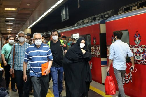 Iranians with masks seen at a subway after wearing face mask becomes mandatory on public transports in Tehran, Iran June 15, 2020 [Fatemeh Bahrami / Anadolu Agency]