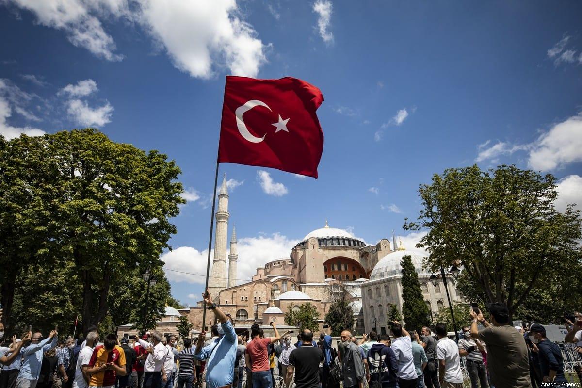 People visit the Ayasofya (Hagia Sophia) on 17 July 2020. [Şebnem Coşkun - Anadolu Agency]
