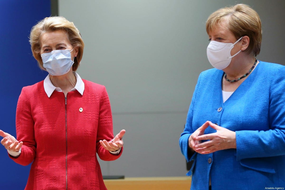 President of the European Commission Ursula von der Leyen (L) and German Chancellor Angela Merkel (R) attend EU summit to discuss EU's long-term budget and coronavirus recovery plan in Brussels, Belgium on July 18, 2020 [Dursun Aydemir / Anadolu Agency]