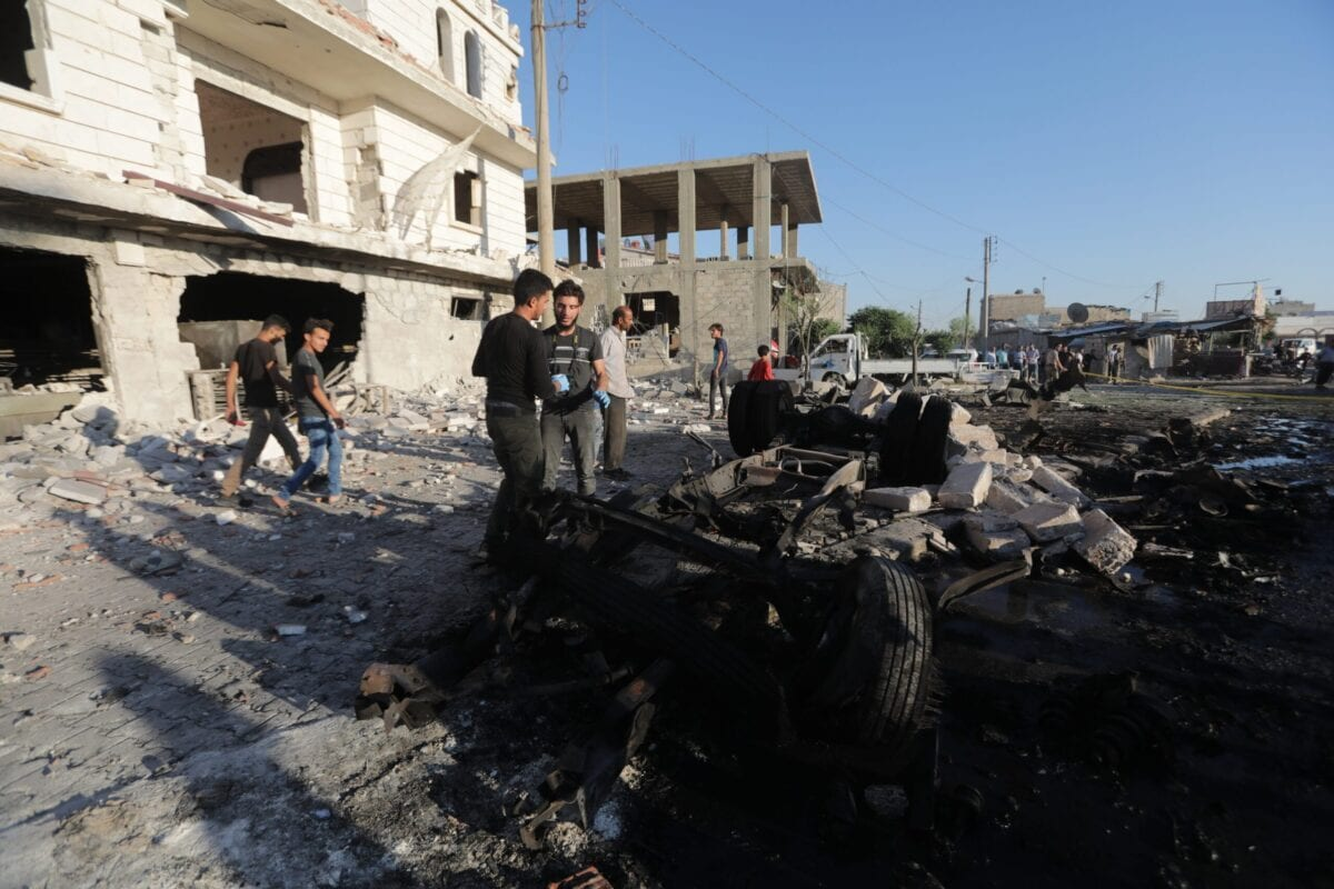 A view of damaged site after a terror attack with a bomb-laden vehicle exploded in Azez, Syria on July 19, 2020. At least 5 civilians were killed and 85 civilians were injured in the attack. [Bekir Kasım - Anadolu Agency]
