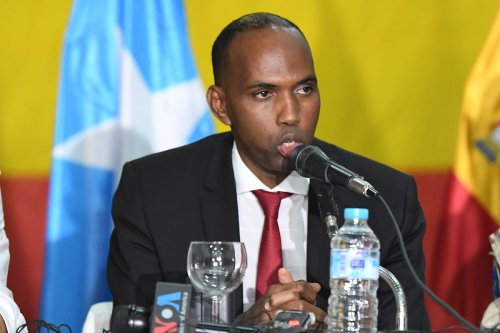 Hassan Ali Khayre, the Prime Minister of Somalia addresses journalists during a press conference aboard the EU Naval Force flagship ESPS Galicia off the coast of Somalia on May 8, 2017. [Flickr]