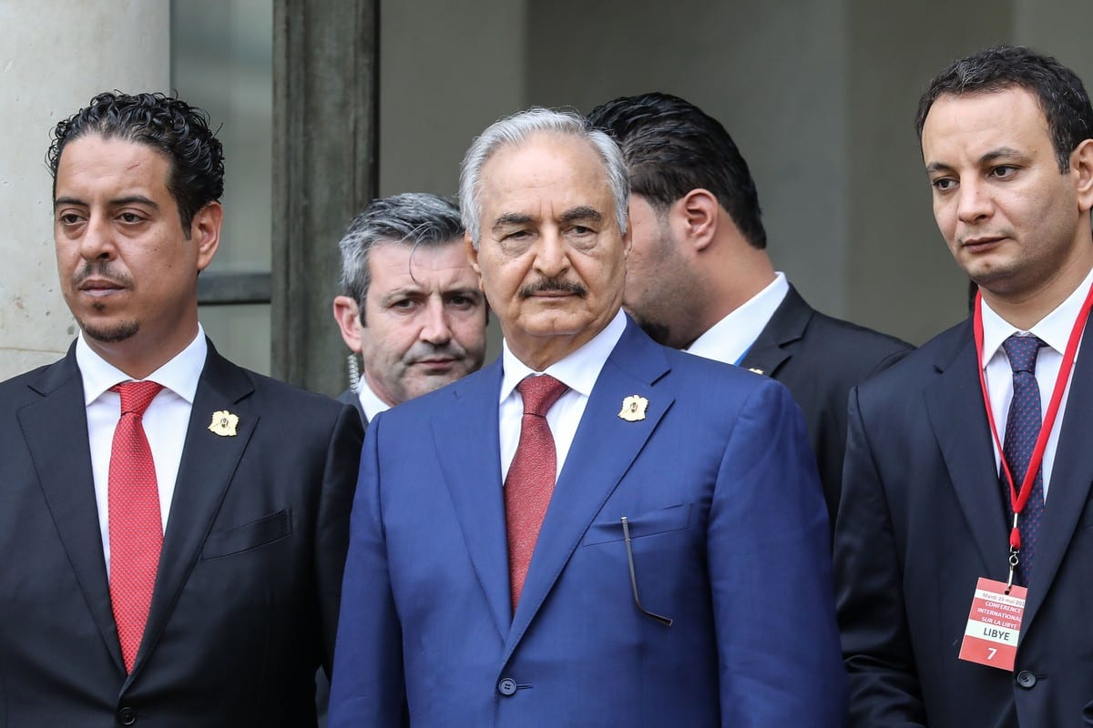 Libya Chief of Staff, Marshall Khalifa Haftar (C) in Paris, France on 29 May 2018 [LUDOVIC MARIN/AFP/Getty Images]