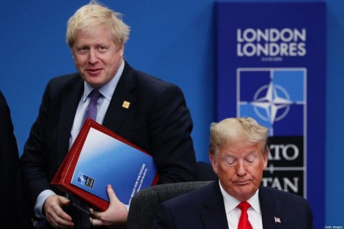 UK Prime Minister Boris Johnson (L) and US President Donald Trump (R) attend the NATO summit at the Grove Hotel on December 4, 2019 in Watford, England [Dan Kitwood/Getty Images]