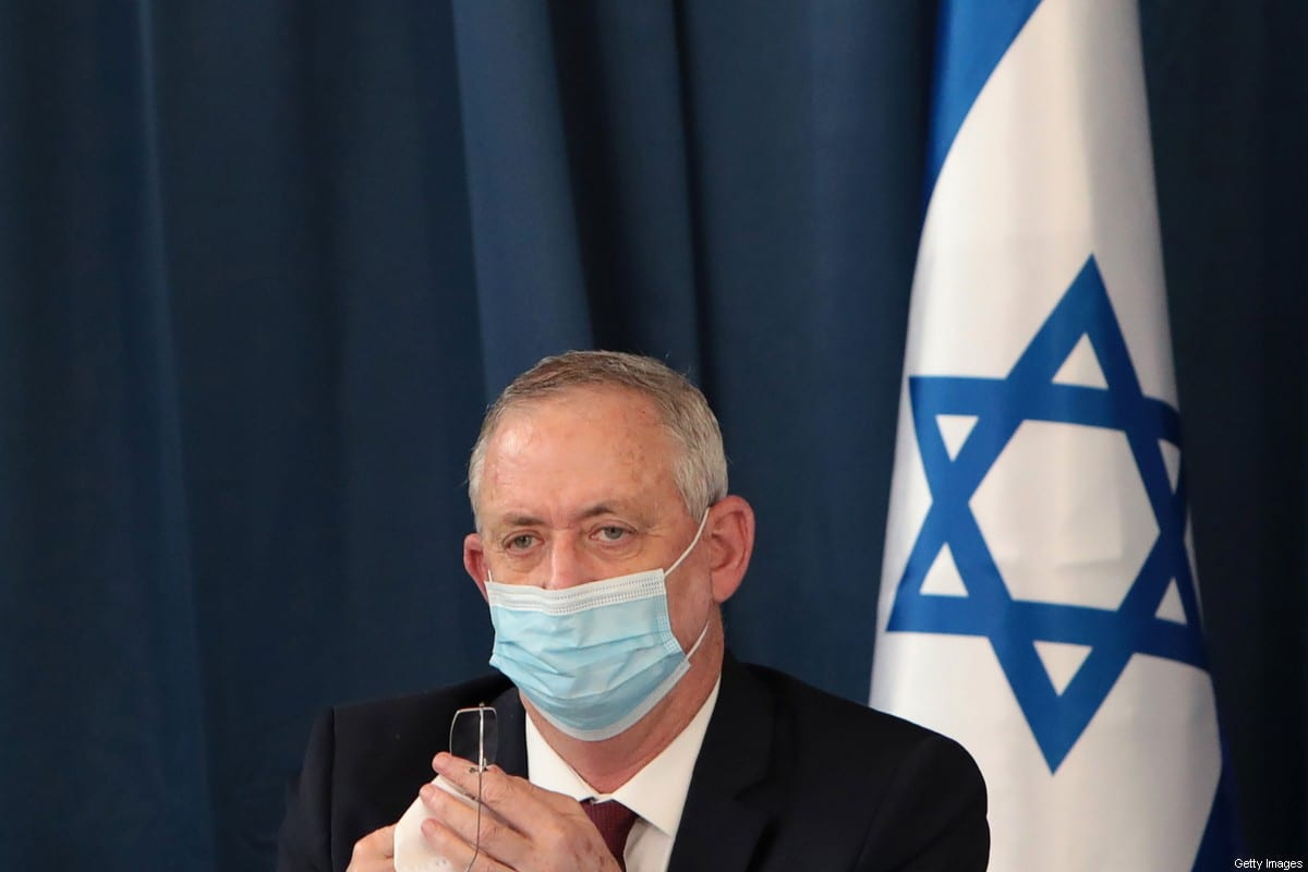 Israeli defence minister and alternate prime minister Benny Gantz wears a protective mask as he attends the weekly cabinet meeting at the foreign ministry in Jerusalem on July 5, 2020 [GALI TIBBON/POOL/AFP via Getty Images]