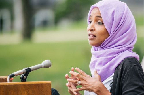 US congresswoman Ilhan Omar during a press conference in Minnesota, US on 7 July 2020 [Brandon Bell/Getty Images]