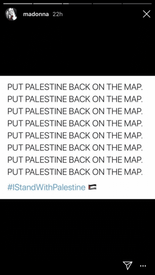 Madonna expresses solidarity with Palestine on Instagram story, 21 July 2020 [Madonna/Instagram]