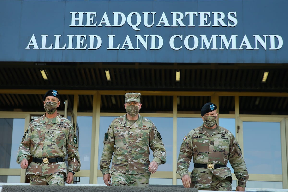 Lieutenant General Roger L. Cloutier (R) at the NATO Allied Land Command Headquarters in Izmir, Turkey on August 04, 2020 [Mehmet Emin Mengüarslan/Anadolu Agency]