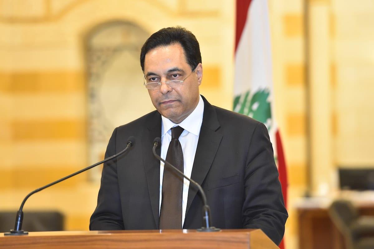 Lebanon's caretaker prime minister Hassan Diab in the capital Beirut, Lebanon on 10 August 2020 [Lebanese Presidency/Anadolu Agency]