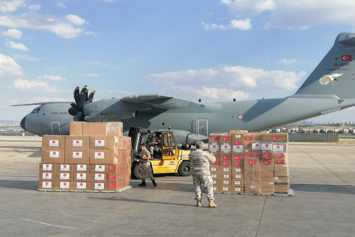 Medical aids are being prepared to be sent to Lebanon in Ankara, Turkey on August 11, 2020 [Turkish Defense Ministry/Handout - Anadolu Agency]