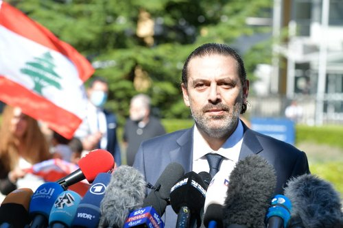 Former Lebanese Prime Minister Saad al-Hariri speaks to the press after leaving the Lebanon Tribunal after the ruling on the assassination of ex-Prime Minister Rafik Al Hariri of Lebanon in Leidschendam, The Netherlands on 18 August 2020. [Saad al-Hariri Press Office/Handout - Anadolu Agency]