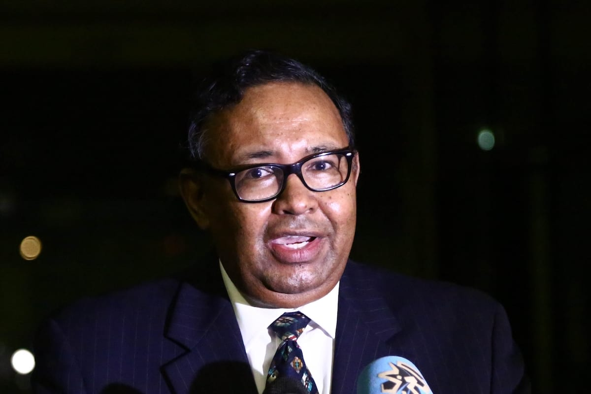 Sudanese Foreign Ministry spokesman Haidar Badawi al-Sadiq holds a news conference at ministry building in Khartoum, Sudan on August 18, 2020 [Mahmoud Hjaj - Anadolu Agency]