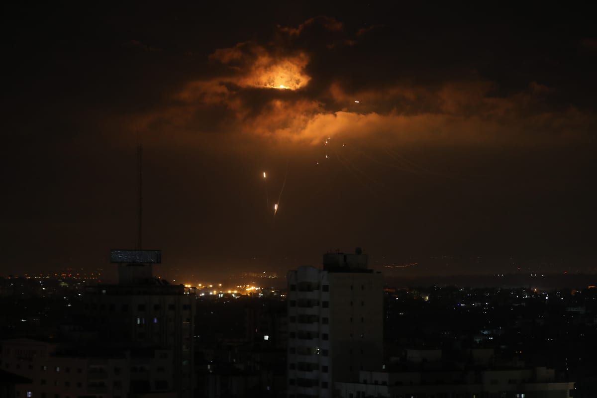Israel's Iron Dome defence system, intercepts and neutralises missiles launched from Gaza City, Gaza after Israel hit several positions of Hamas in southern Gaza on August 20, 2020. ( Ali Jadallah - Anadolu Agency )
