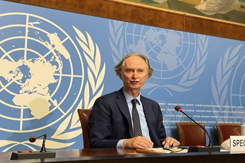 GENEVA, SWITZERLAND - AUGUST 21: United Nations (UN) Special Envoy for Syria Geir Pedersen speaks during a press conference at the UN Geneva Office in Geneva, Switzerland on August 21, 2020. The conference is held within the third round of talks of the Syrian Constitutional Committee, which will begin on 24th of August. ( Bayram Altuğ - Anadolu Agency )