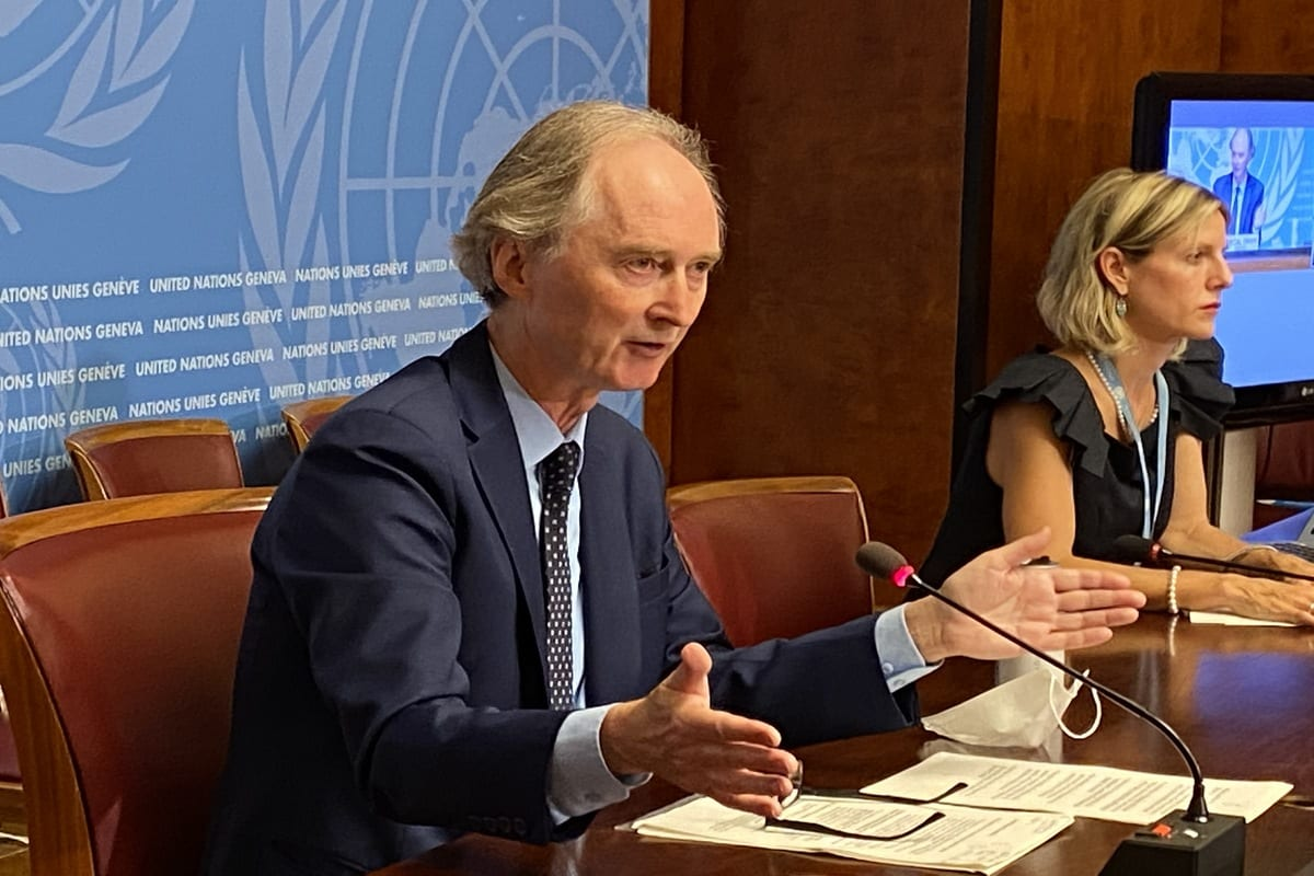 United Nations (UN) Special Envoy for Syria Geir Pedersen speaks during a press conference at the UN Geneva Office in Geneva, Switzerland on 21 August 2020. [Bayram Altuğ - Anadolu Agency]