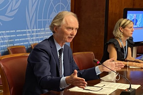 United Nations (UN) Special Envoy for Syria Geir Pedersen speaks during a press conference at the UN Geneva Office in Geneva, Switzerland on 21 August 2020. [Bayram Altuğ - Anadolu Agency]