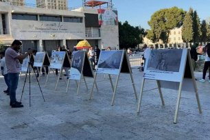Palestinians set up an exhibition displaying Banksy's artwork in Bethlehem to pay tribute to the artist, 18 August 2020 [Tours with Yamen/Facebook]