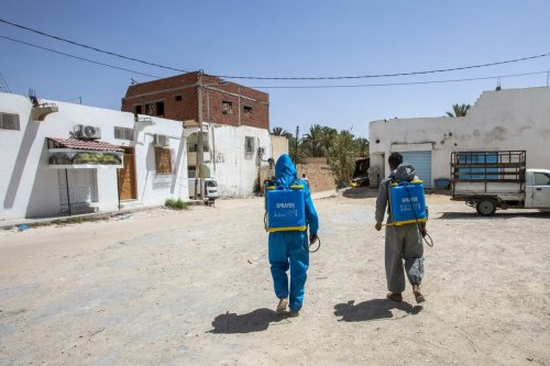Health care workers disinfect the novel coronavirus (COVID-19) patients' houses as a precaution while the number of cases increase in southern district Gabes, Tunisia on 23 August 2020. [Nacer Talel - Anadolu Agency]