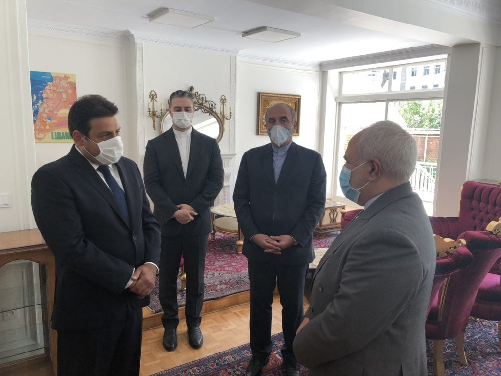 Iranian Foreign Minister Javad Zarif has visited the Lebanese Embassy in Tehran to express his condolences following last week's devastating blast at Beirut Port which has now claimed the lives of 200 people and wounded at least 5,000 [@Hassan3Abbas/Twitter]