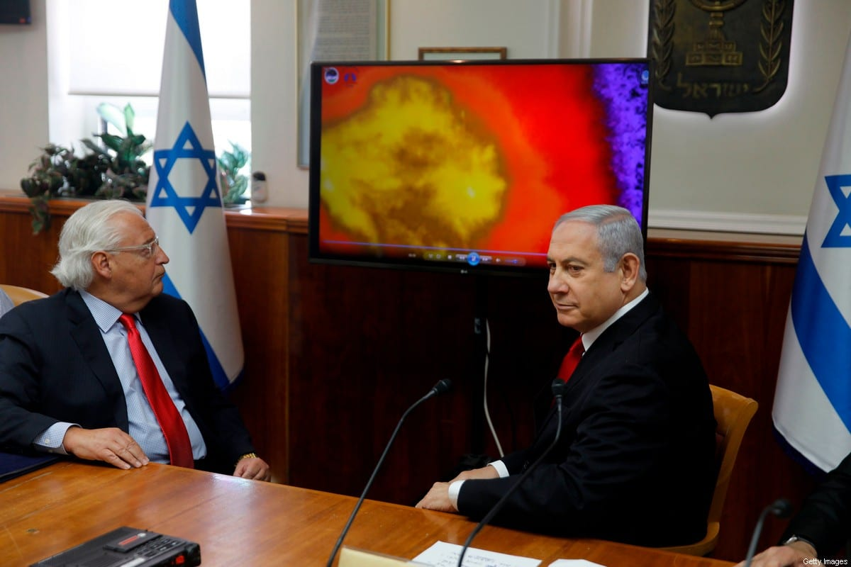 Israeli Prime Minister Benjamin Netanyahu (R) and US Ambassador to Israel David Friedman watch a video which shows the launch of the Arrow 3 hypersonic anti-ballistic missile during a cabinet meeting in Jerusalem on July 28 2019. [MENAHEM KAHANA/AFP via Getty Images]