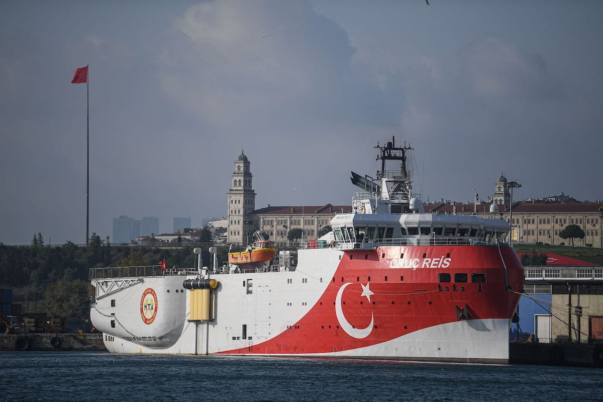 A view of Turkish General Directorate of Mineral research and Exploration's (MTA) Oruc Reis seismic research vessel docked at Haydarpasa port, which searches for hydrocarbon, oil, natural gas and coal reserves at sea, on 23 August 2019 [OZAN KOSE/AFP via Getty Images]
