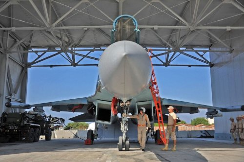 A Russian Sukhoi Su-35 fighter jet is prepared for take off at the Russian military base of Hmeimim, located south-east of the city of Latakia in Hmeimim, Syria, on 26 September 2019 [MAXIME POPOV/AFP via Getty Images]