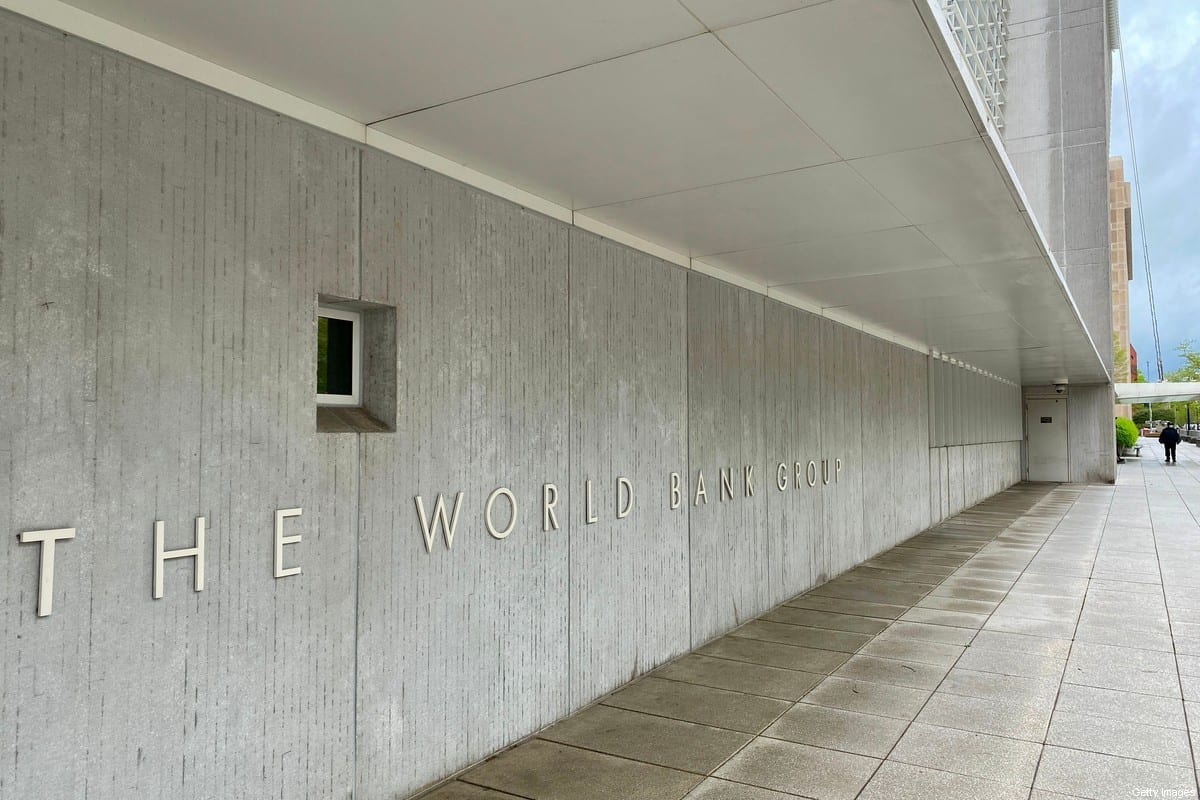 A security guard is seen at the World Bank Group building on the empty street in Washington, DC on April 13, 2020 during the virtual IMF, World Bank Spring 2020 meetings [DANIEL SLIM/AFP via Getty Images]