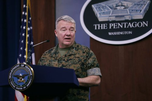 Marine Corps Gen. Kenneth F. McKenzie, commander of US Central Command, talks to journalists about the military response to rocket attacks that killed two U.S. and one U.K. service members in Iraq during a news briefing at the Pentagon on 13 March 2020 in Arlington, Virginia. [Chip Somodevilla/Getty Images]