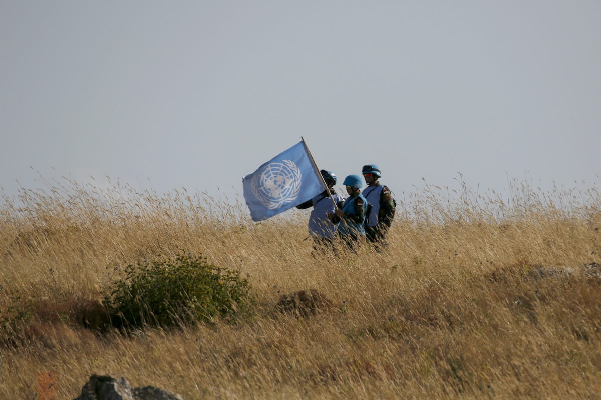 UNIFIL peacekeepers from the Lebanese village of Adaisseh in Lebanon in 2 June 2020 [JALAA MAREY/AFP/Getty Images]