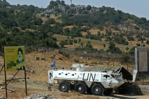 A vehicle of the United Nations peacekeeping force (UNIFIL) on patrol near the southern Lebanese village of Shebaa [MAHMOUD ZAYYAT/AFP via Getty Images]