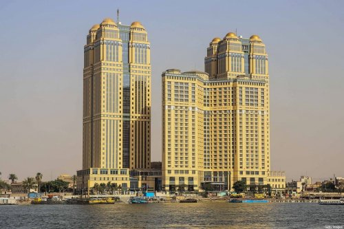 The five-star Fairmont Nile City hotel, where an alleged sexual assault took place in 2014, in the Egyptian capital Cairo on 30 July 2020 [SAMER ABDALLAH/AFP via Getty Images]
