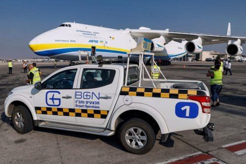 This picture taken on August 3, 2020 shows a view of the Soviet-built Soviet-built Antonov Airlines Antonov An-225 Mriya strategic airlift cargo aircraft, the world's largest cargo plane, upon landing at Israel's Ben Gurion International Airport in Lod, east of Tel Aviv. [JACK GUEZ/AFP via Getty Images]