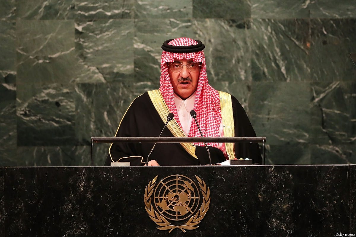 Crown Prince Muhammad bin Nayef of Saudi Arabia addresses the General Assembly at the United Nations on September 21, 2016 in New York City. Presidents, prime ministers, monarchs and ministers are gathering this week for the United Nation's General Assembly's annual ministerial meeting. (Photo by Spencer Platt/Getty Images)