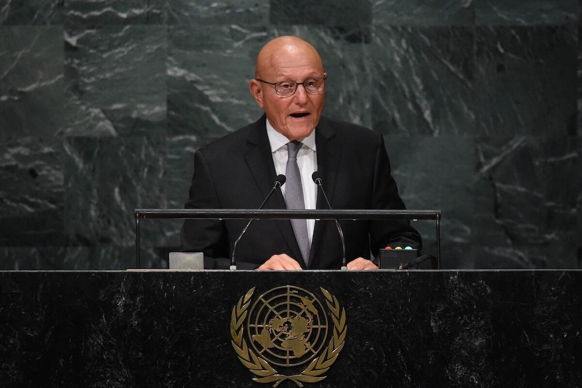 Tammam Salam, Former president of the Council of Ministers of the Lebanese Republic addresses the 71st session of the United Nations General Assembly at the UN headquarters in New York on 22 September 2016. [TIMOTHY A. CLARY/AFP via Getty Images]