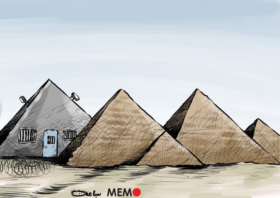 The infamous Scorpio Prison in Cairo, Egypt - Cartoon [Sabaaneh/MiddleEastMonitor]