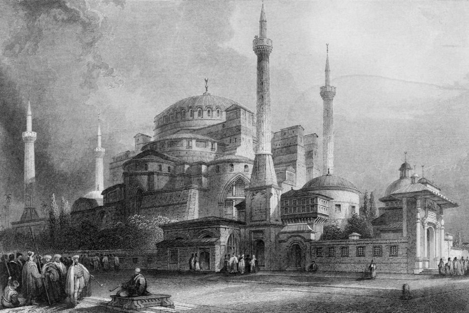 1800s St. Sophia Church in Constantinople Isanbul Church [Cushing/ClassicStock/Getty Images