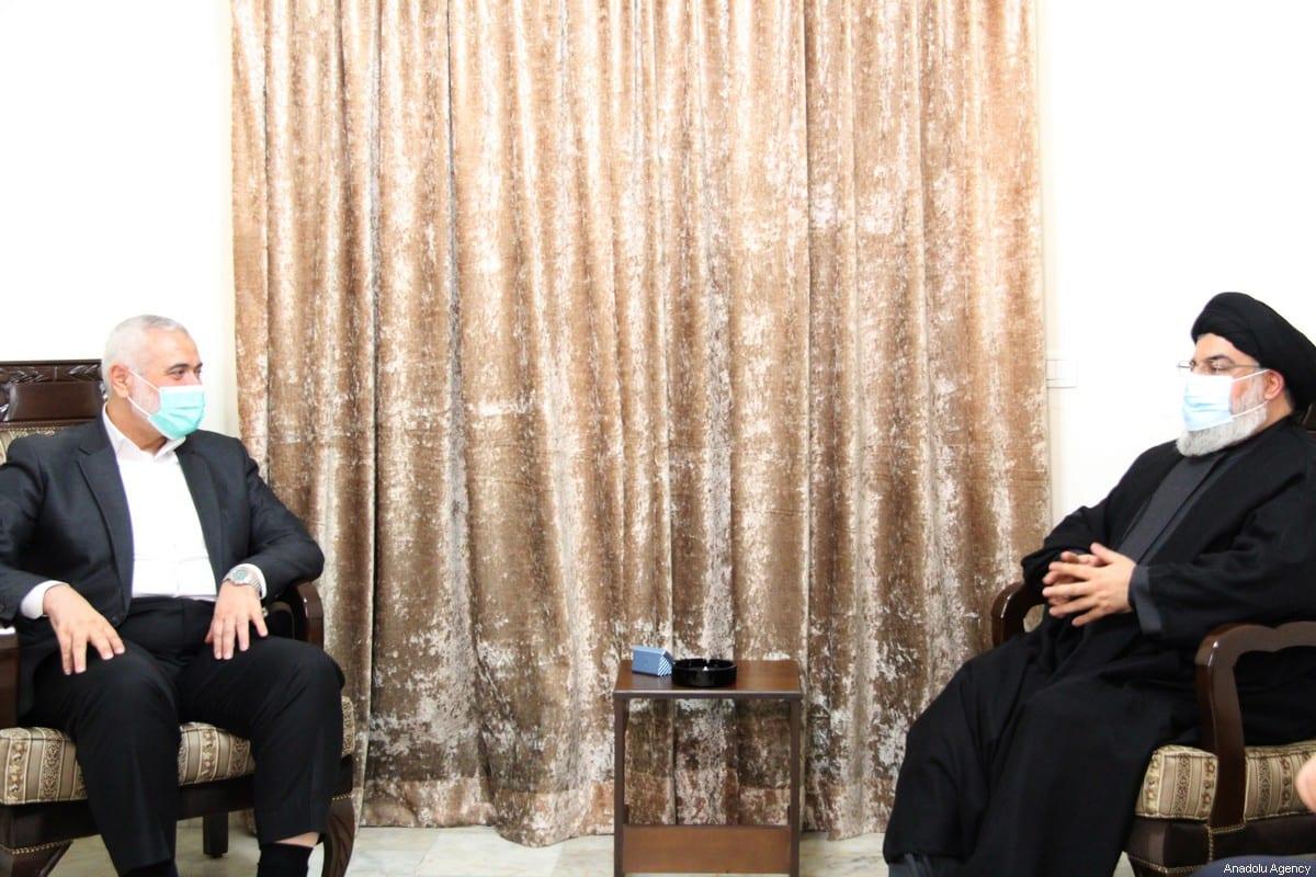 Chairman of the Hamas Political Bureau Ismail Haniyeh (L) and Hezbollah Secretary-General Hassan Nasrallah (R) meet in Beirut, Lebanon on September 06, 2020 [Hezbollah Press Office / Handout - Anadolu Agency]