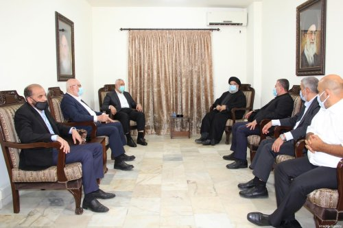 Chairman of the Hamas Political Bureau Ismail Haniyeh (3rd L) and Hezbollah Secretary-General Hassan Nasrallah (4th R) meet in Beirut, Lebanon on 6 September 2020. [Hezbollah Press Office / Handout - Anadolu Agency]