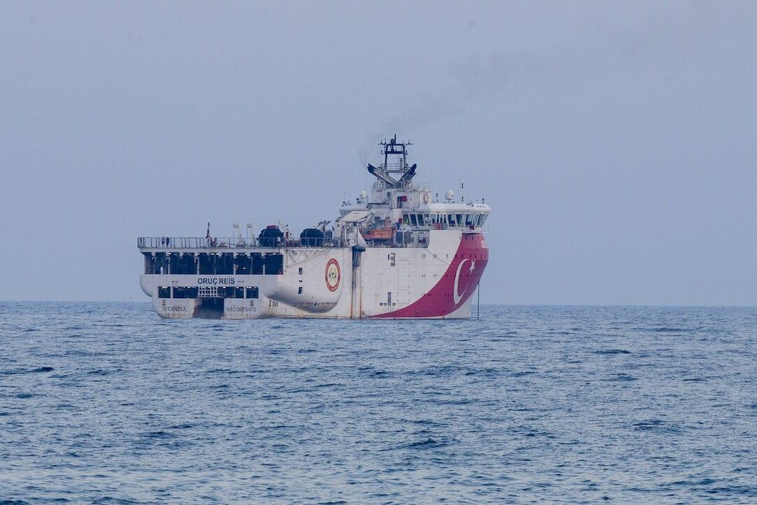A photo taken from Turkey's Antalya province on 14 September 2020 shows Turkey's Oruc Reis seismic vessel anchored for supply and maintenance offshore Antalya. [Mustafa Çiftçi - Anadolu Agency]
