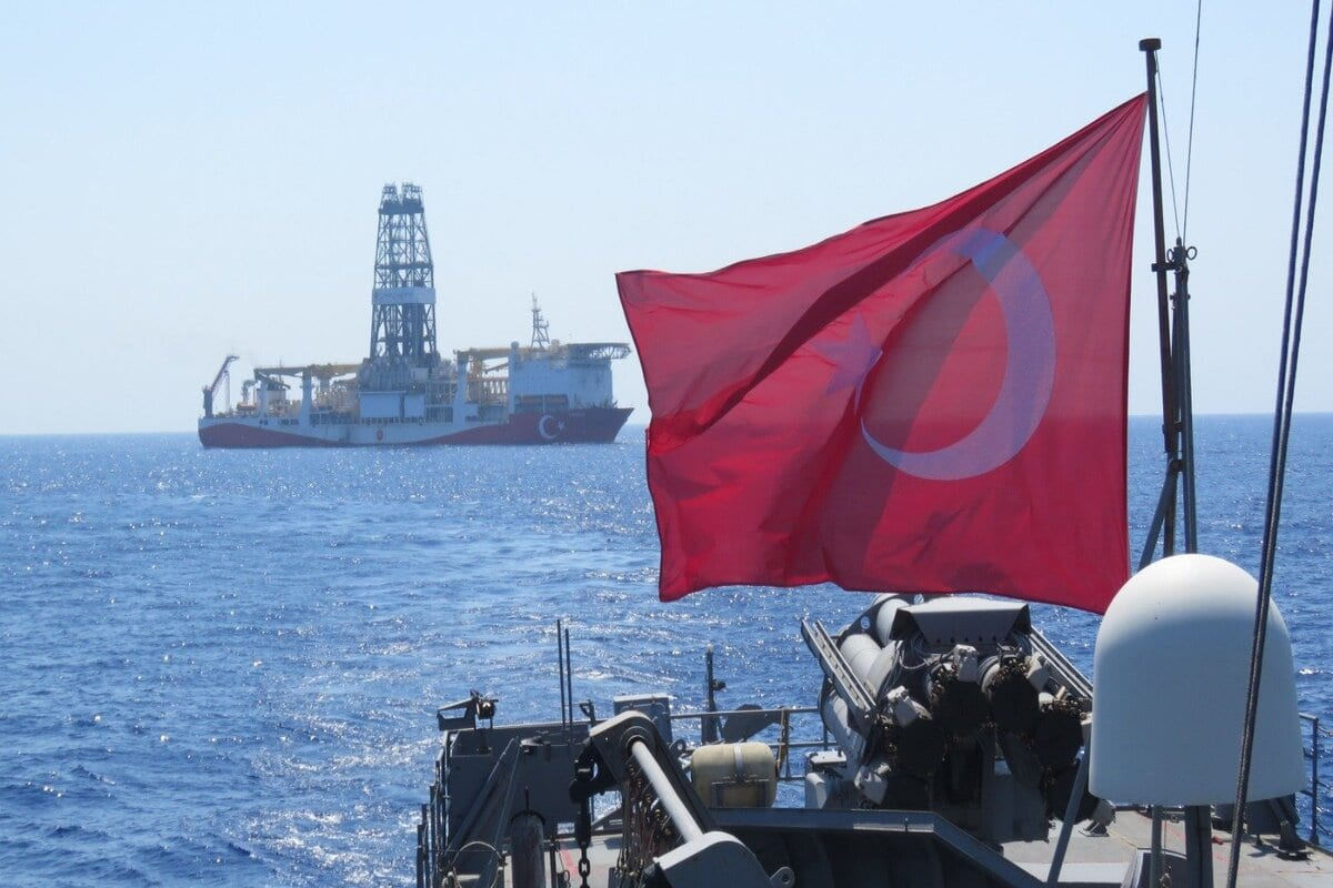 Turkey's hydrocarbon research ship 'Yavuz' , escorted by Turkish navy, is seen offshores of the Mediterranean Sea [Turkish Defence Ministry/Handout/Anadolu Agency]