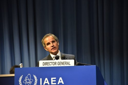 Director General of the International Atomic Energy Agency (IAEA) Rafael Mariano Grossi speaks at the 64th General Conference of the IAEA at its headquarters in Vienna, Austria on September 21, 2020 [Aşkın Kıyağan - Anadolu Agency]