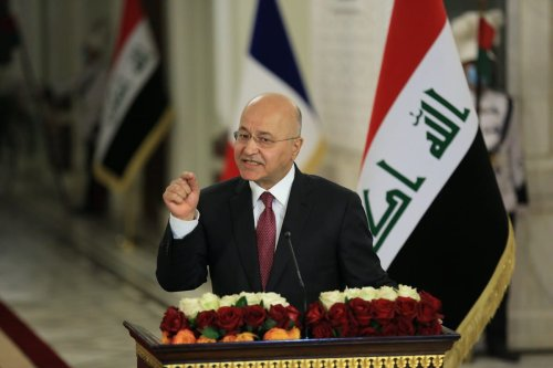 BAGHDAD, IRAQ - SEPTEMBER 02: Iraqi President Barham Salih speaks during a joint press conference held with French President Emmanuel Macron (not seen) in Baghdad, Iraq on September 02, 2020. ( Murtadha Al-Sudani - Anadolu Agency )