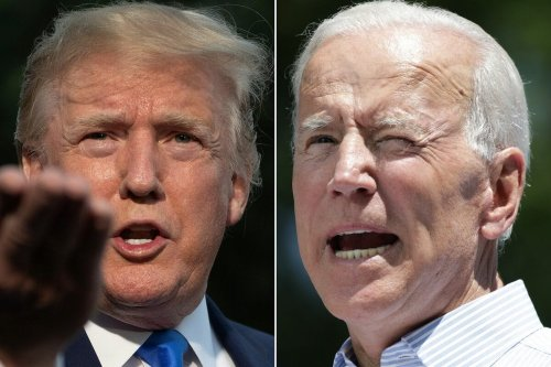 US President Donald Trump(L) in Washington, DC, on June 2, 2019, and former US vice president Joe Biden during the kick off his presidential election campaign in Philadelphia, Pennsylvania, on May 18, 2019. [JIM WATSON,DOMINICK REUTER/AFP via Getty Images]