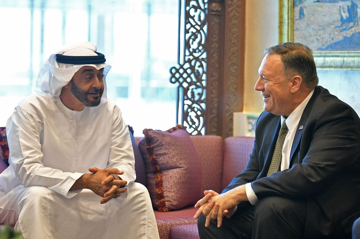 US Secretary of State Mike Pompeo (R) takes part in a meeting with Abu Dhabi Crown Prince Mohamed bin Zayed al-Nahyan in Abu Dhabi, United Arab Emirates, on 19 September 2019. [MANDEL NGAN/AFP via Getty Images]